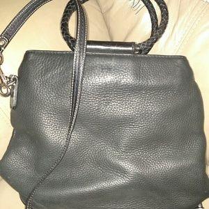 Fossil black soft leather handbag EUC